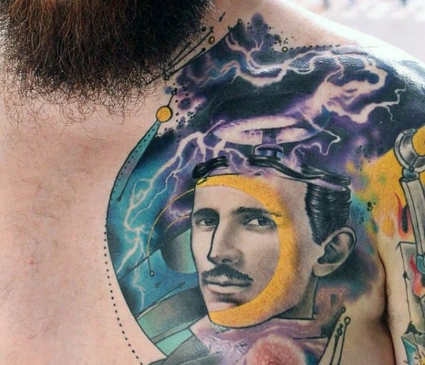Mens Nikola Tesla Tattoo Design Ideas