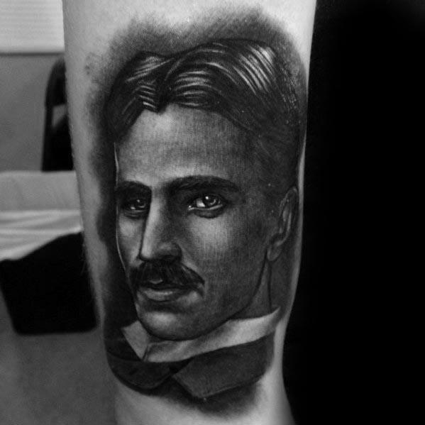 Mens Nikola Tesla Tattoo Design Inspiration