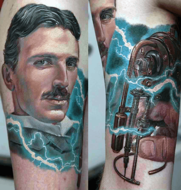 Mens Nikola Tesla Tattoo