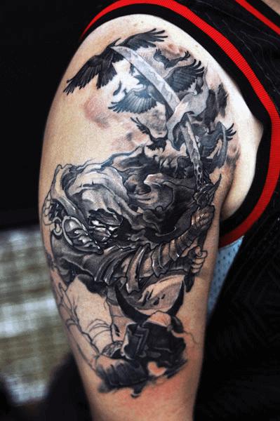Mens Ninja With Sword Flying Crows Arm Tattoo
