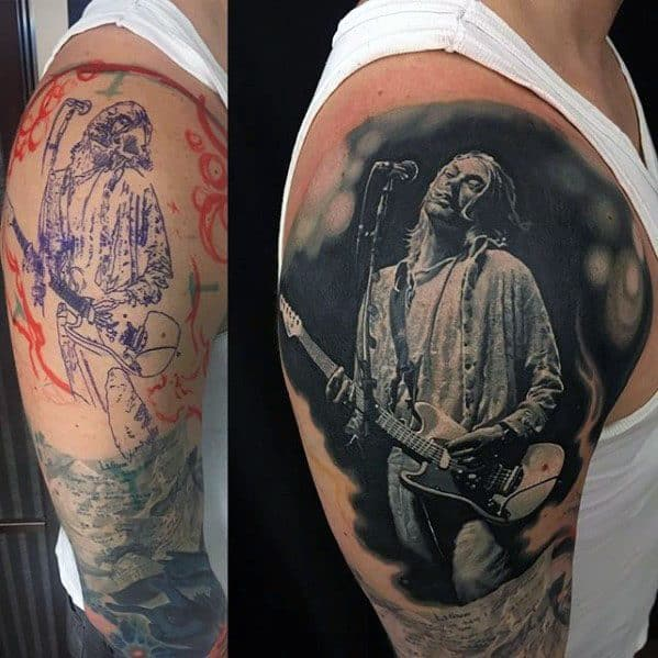Mens Nirvana Tattoo Ideas On Upper Arm
