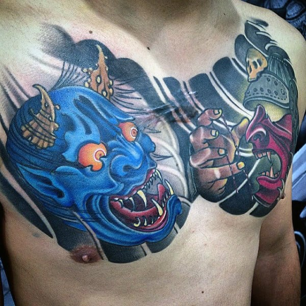 Mens Noh Theater Hannya Mask Upper Chest Tattoos