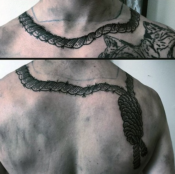 Mens Noose Neck And Shoulder Tattoo Designs