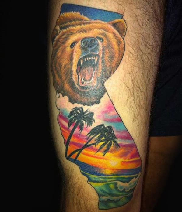 Mens Ocean Beach Bear California Leg Tattoos