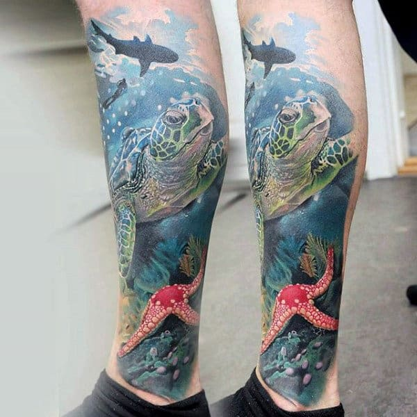 Mens Ocean Themed Animal Leg Sleeve Tattoo