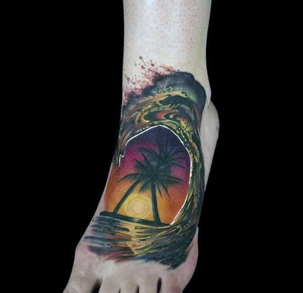 a387428e0dea8 Mens Ocean Wave Palm Trees 3d Small Foot Tattoo Ideas