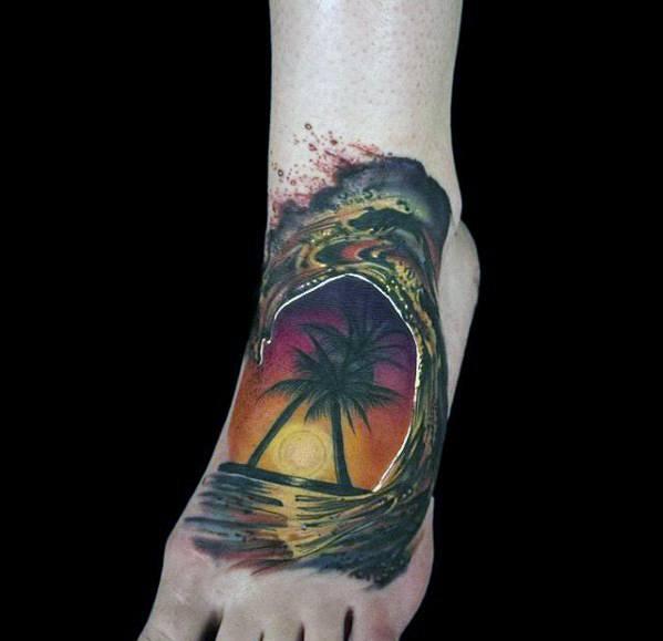 Mens Ocean Wave Palm Trees 3d Small Foot Tattoo Ideas