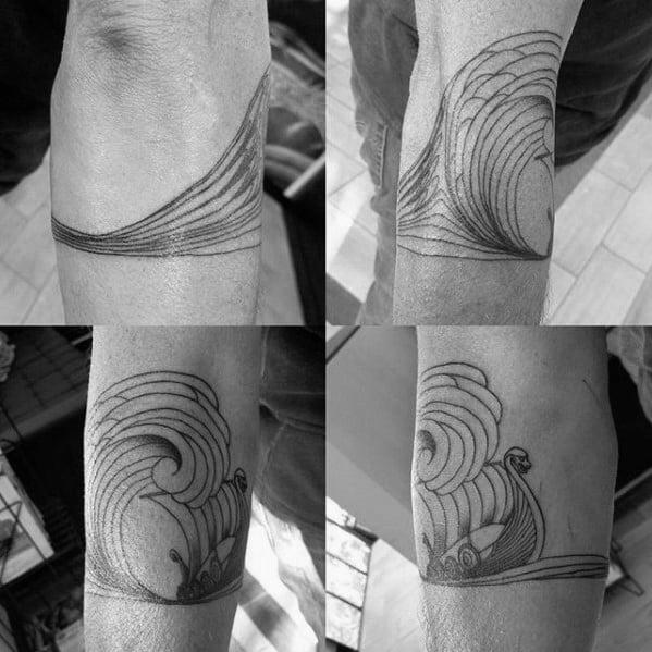 Mens Ocean Wave Viking Ship Forearm Band Tattoo