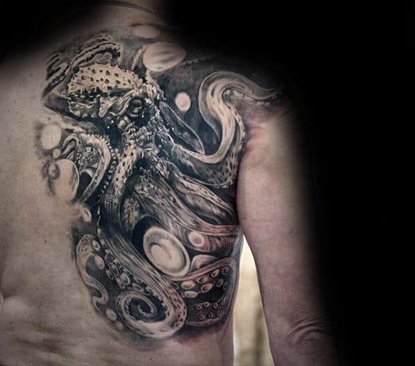 Mens Octopus Shaded Black And Grey 3d Tattoo Designs