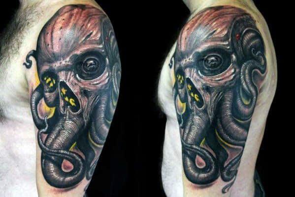 Mens Octopus Skull Tattoo Ideas Quarter Sleeve