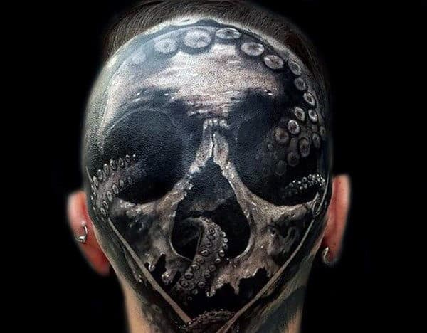 Men's Octopus Tattoo On Back Of Head