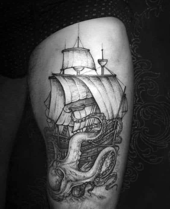 Mens Octopus Wrapped Around Sailing Ship Thigh Tattoo Designs