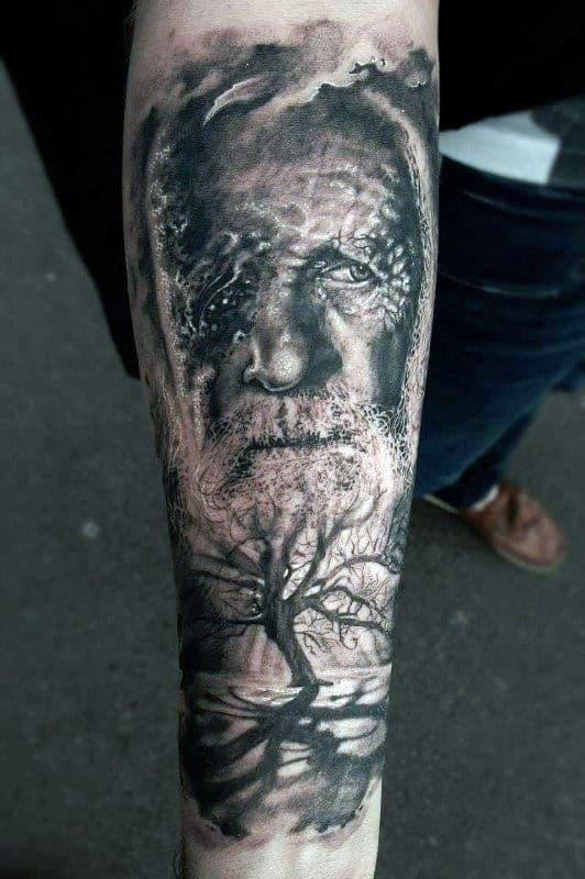 Mens Odin Tree Inner Forearm Sleeve Tattoos