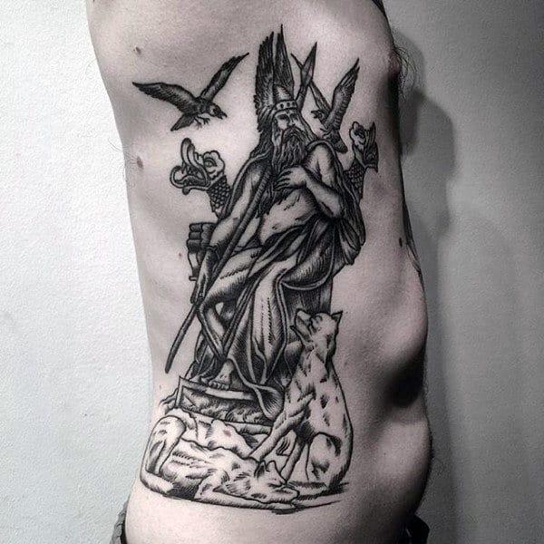Mens Odin Woodcut Rib Cage Side Tattoo