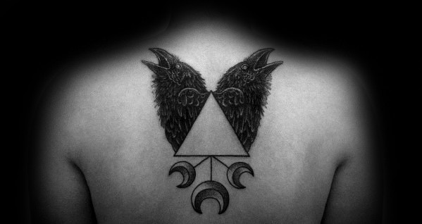 Mens Odins Ravens Tattoo Design Ideas