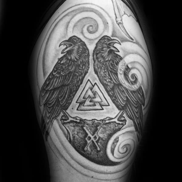 Mens Odins Ravens Tattoo