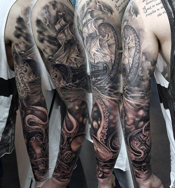 Men's Old Compass Tattoo Sleeves