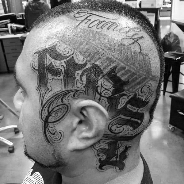 Mens Old English Head Tattoos