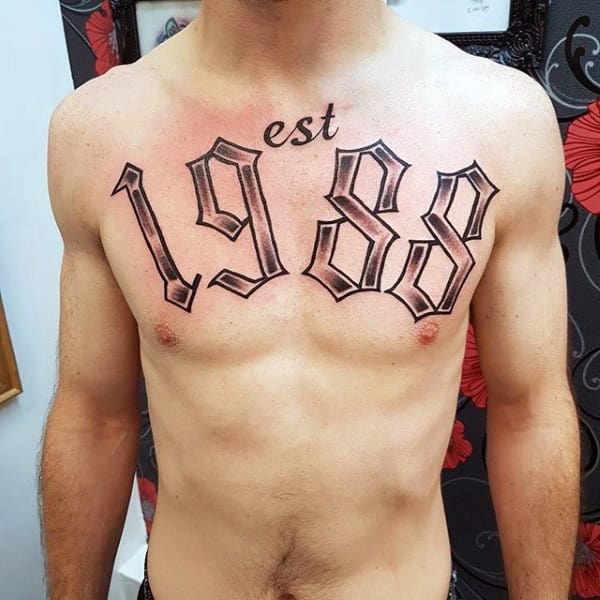 Mens Old English Numbers 1988 Chest Tattoo Ideas