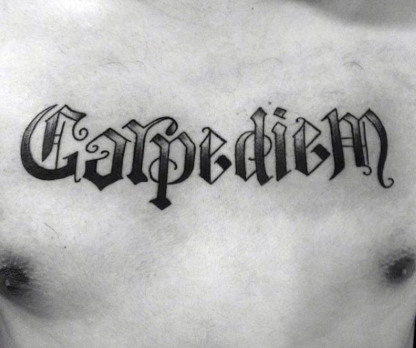 Mens Old Schol Carpe Diem Upper Chest Tattoos
