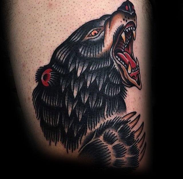 Mens Old School Bear Claw Upper Thigh Tattoo