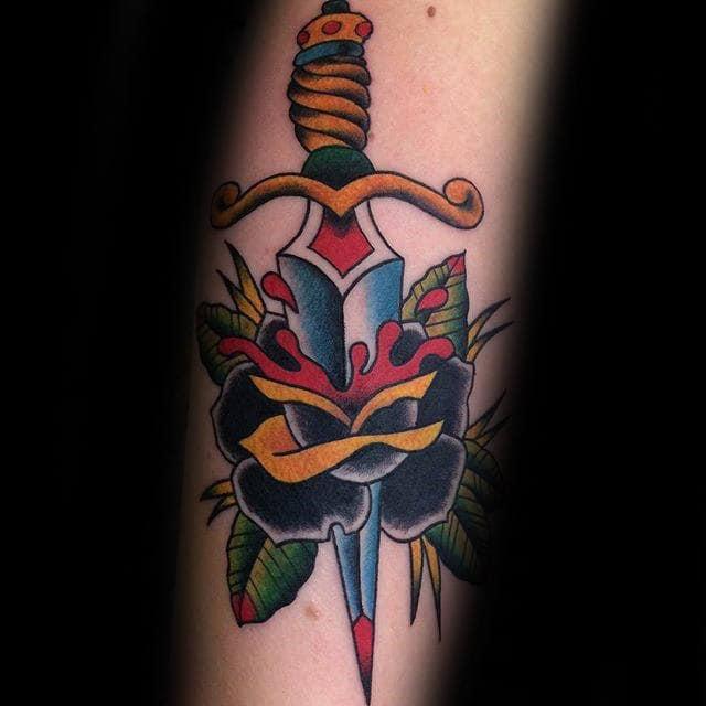 Mens Old School Black Rose Dagger Arm Tattoo