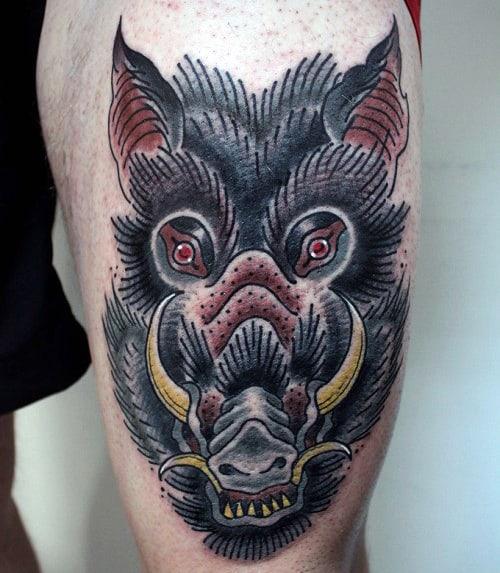 Mens Old School Boar Thigh Tattoo Deisgns