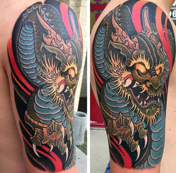 Mens Old School Dragon Arm Tattoo Ideas