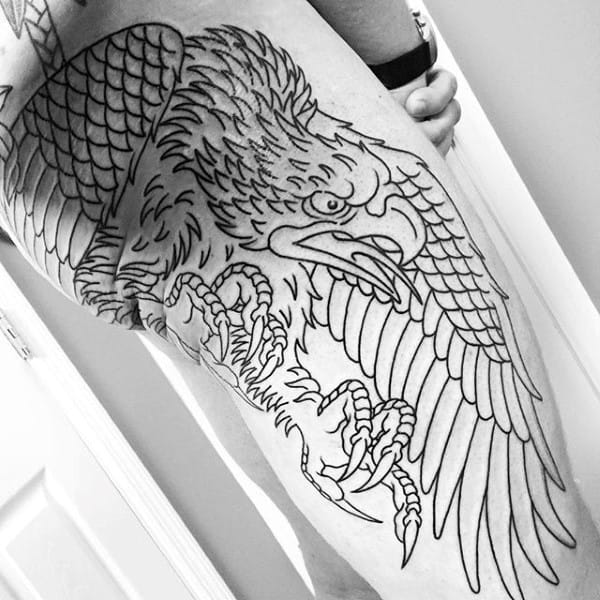 Mens Old School Falcon Leg Sleeve Tattoo