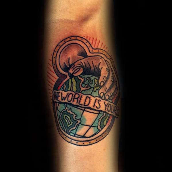 Mens Old School Hand With Globe The World Is Yours Inner Forearm Tattoos