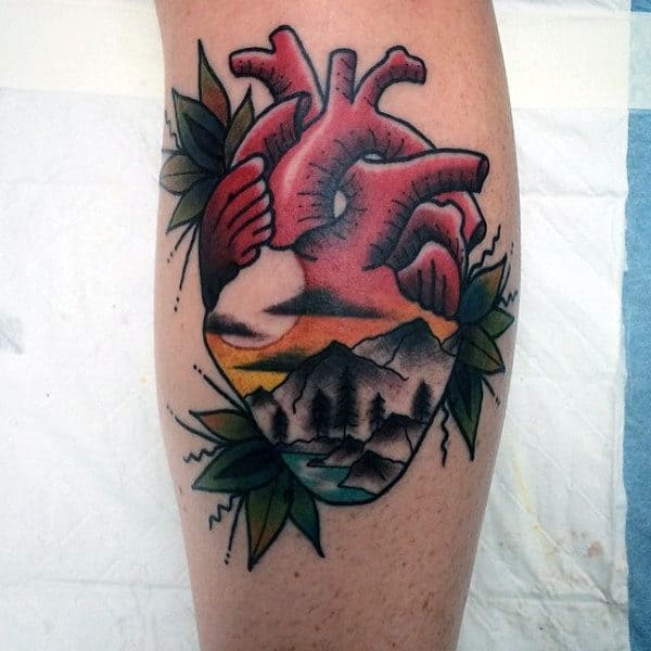 Mens Old School Nature Landscape Heart Traditional Tattoos