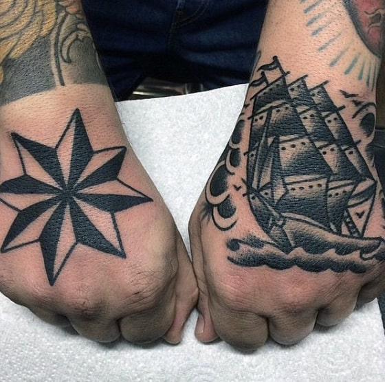 Mens Old School Nautical Star Hand Tattoo With Black Ink