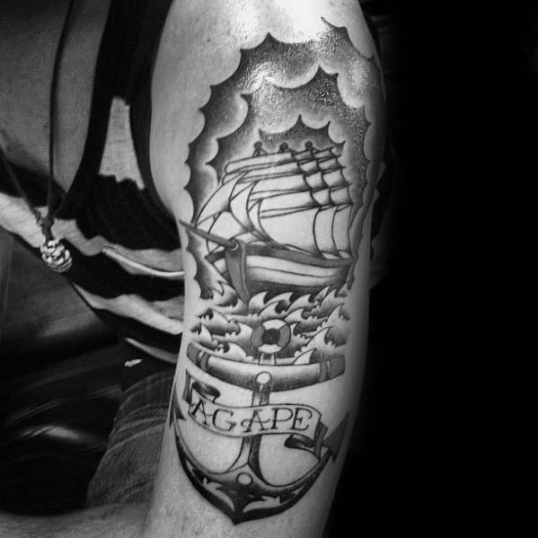 Mens Old School Sailing Ship With Agape Banner Arm Tattoo Designs