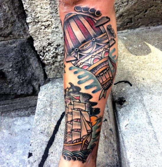 Mens Old School Sailing Ship With Hot Air Balloon Traditional Tattoos
