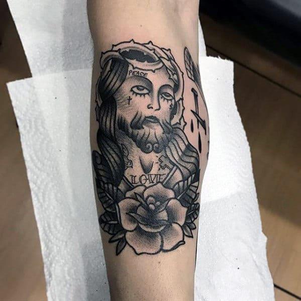 Mens Old School Side Of Leg Traditional Jesus Tattoos