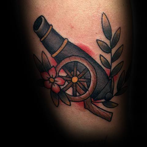 Mens Old School Traditional Arm Cannon Tattoo Ideas