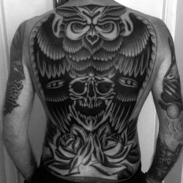 Mens Old School Traditional Owl Skull And Rose Flowers Full Back Tattoo