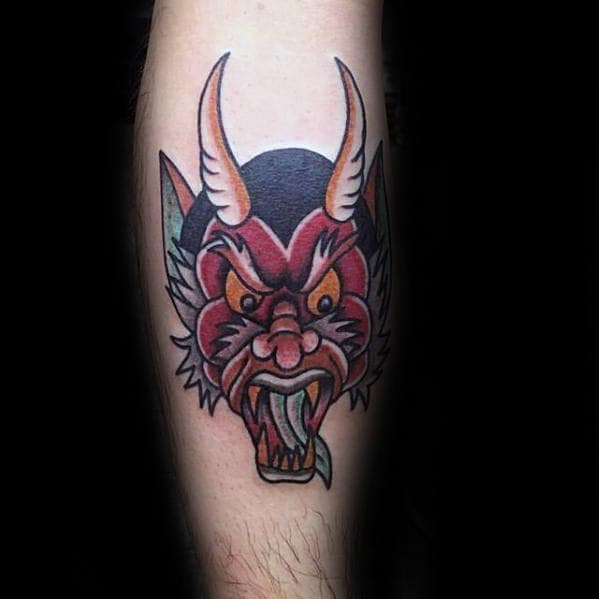 Mens Old School Traditional Red Devil Head Tattoo On Legs