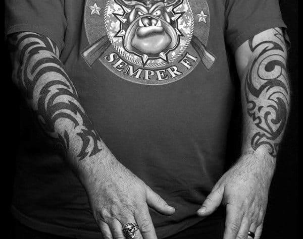 Mens Old School Tribal Forearm Tattoos