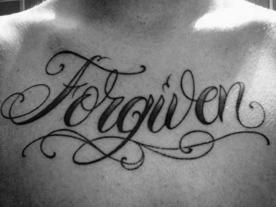 Mens Old School Vintage Forgiven Upper Chest Tattoos