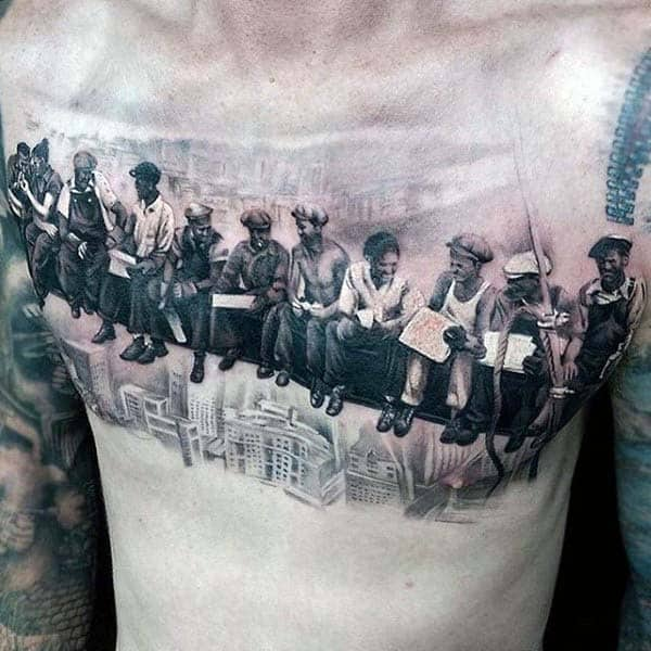 Mens On Steel Beam Over Skyline Of City Guys Nice Chest Tattoos