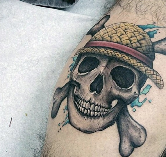 Mens One Piece Anime Tattoo Ideas Skull Design On Leg Calf