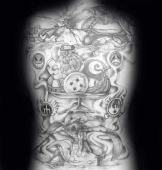 Mens One Piece Tattoo Design Ideas Full Back Black And Grey Ink
