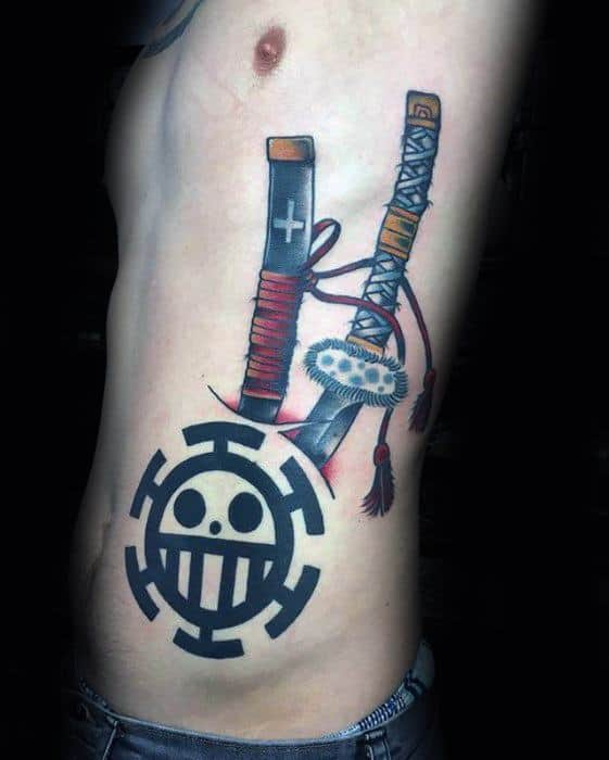 Mens One Piece Tattoo On Rib Cage Side With Sword Design