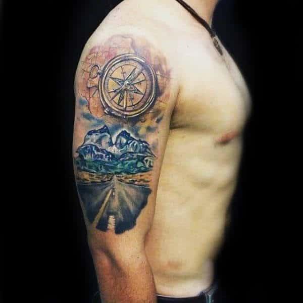 75 travel tattoos for men adventure design ideas for Upper arm tattoo