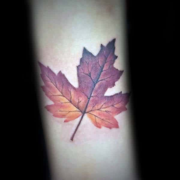 Mens Orange And Red Fall Leaf Inenr Forearm Tattoo