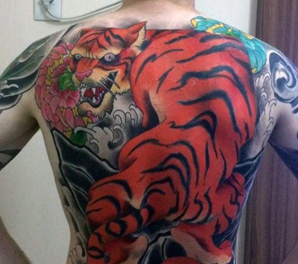 Men's Orange Tiger Tattoo On Back