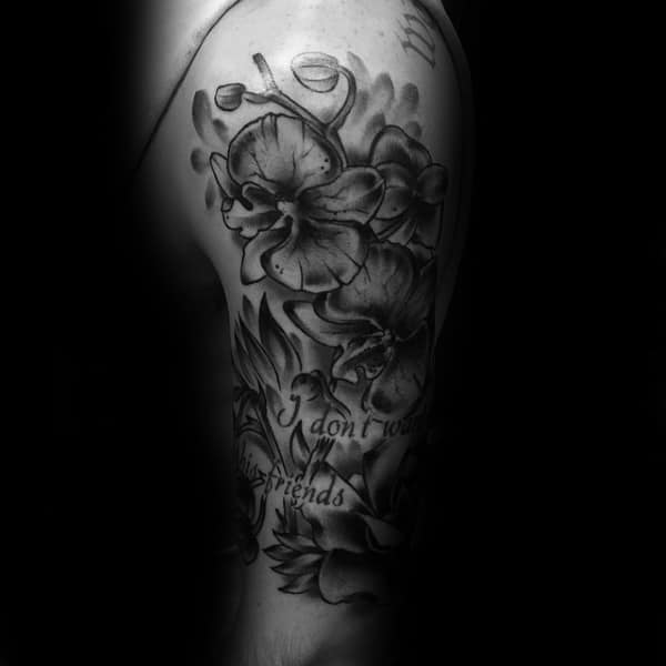 Mens Orchid Upper Arm Flower Tattoos With Shaded Black And Grey Ink Design
