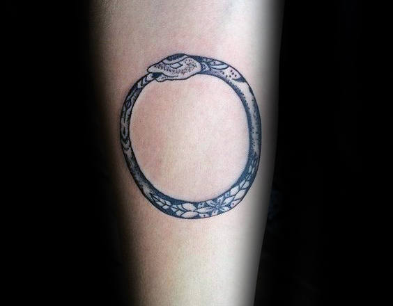 Mens Ornate Ouroboros Tattoo Ideas On Inner Forearm
