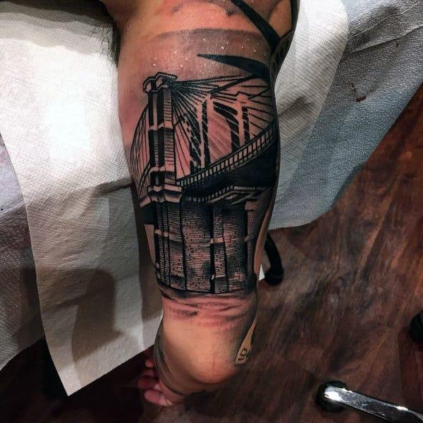 Mens Outer Arm Bicep New York City Brooklyn Bridge Half Sleeve Tattoos